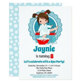 Brunette Spa Party Girls Birthday Invitation