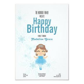 brunette winter BALLERINA birthday invitation