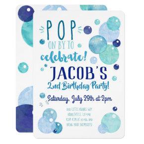 Bubbles Invitation Bubble Birthday Party Blue Boy