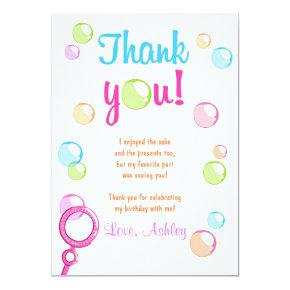 Bubble thank you card birthday invitations candied clouds bubbles thank you invitations birthday party girl filmwisefo