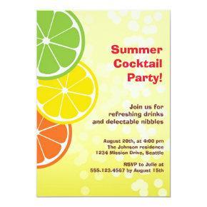 Bubbly refreshing drink citrus slice summer party invitation