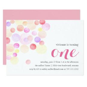 Bubbly | Watercolor First Birthday Invitations