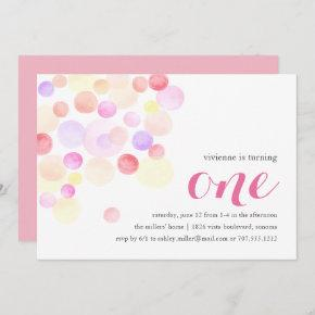 Bubbly   Watercolor First Birthday Invitation
