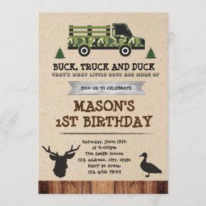 Bucks Trucks and Ducks party invitation