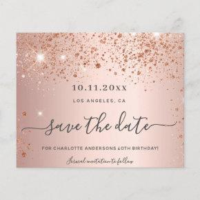 Budget birthday rose gold glitter save the date