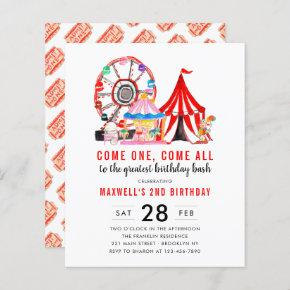 Budget Carnival Circus Show Birthday Invitation