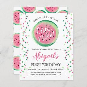 Budget One in a Melon First Birthday Invitation