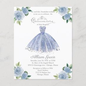 Budget Quinceanera Invitation Bilingual Blue Gown