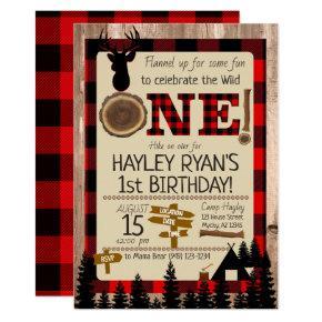 Buffalo Check Flannel Wild One Deer 1st Birthday Invitation
