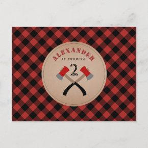 Buffalo Plaid Axe Woodland Lumberjack Birthday Invitation Post