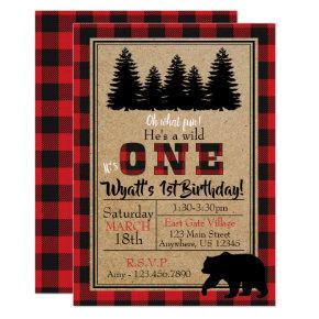 Buffalo Plaid Birthday Invitations