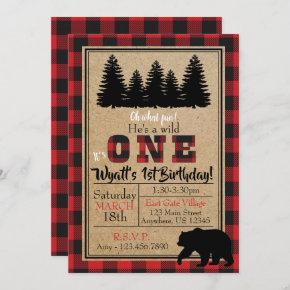 Buffalo Plaid Birthday Invitation