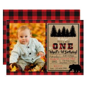 Buffalo Plaid Birthday Photo Invitation