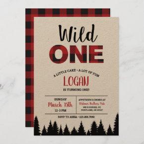 Buffalo Plaid First Birthday Invitation - Wild One