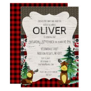 Buffalo Plaid Little Moose Party Invitations