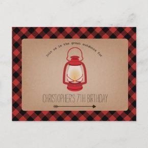 Buffalo Plaid Red Lantern Camping Birthday Invitation Post