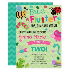 Bugs Birthday Invitation Girl Pink Bugs Party