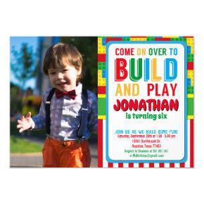Building Block Birthday Bricks Party Photo Invitation