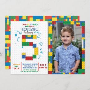 Building Blocks Birthday Bricks 5 years Invitation