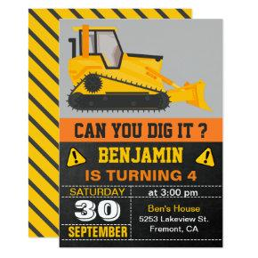 Bulldozer Construction Birthday Party Invitations
