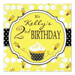Bumble Bee Cupcake Second Birthday Card