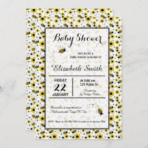 Bumble Bee Girl Baby Shower or Birthday Invitation