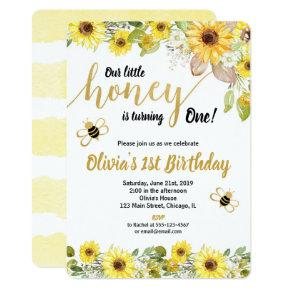 Bumble bee sunflowers birthday invitation girl