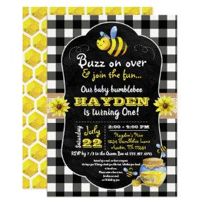 Bumblebee Honey Comb Sweet Baby First Birthday Invitation