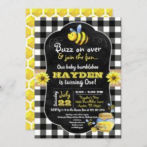 Bumblebee Honey Comb Sweet Baby First Birthday Invitation