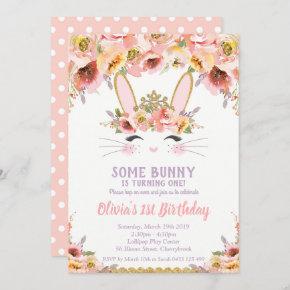 Bunny 1st Birthday  Girls Floral Rabbit