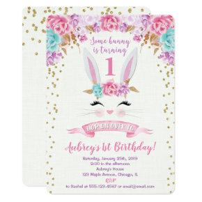 Bunny birthday invitation pink and gold 1st first