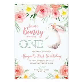 Bunny first birthday invitation girls floral