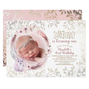 Bunny Is Turning One Girl's First Birthday Photo Invitation