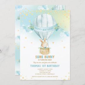 Bunny Rabbit Hot Air Balloon 1st Birthday Boy Invitation