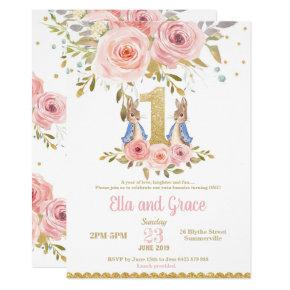 Bunny Rabbit Twin Girls 1st Birthday Invitation