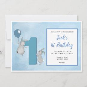 Bunny's with Balloon - 1st Birthday - Blue Invitation