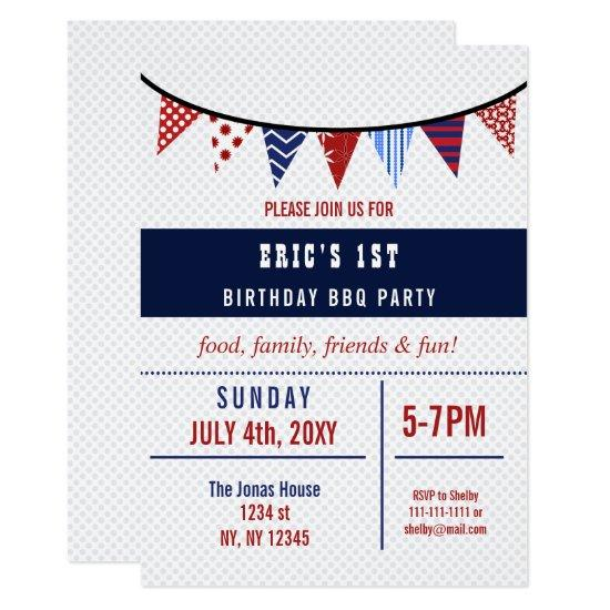 Bunting July 4th Birthday Party Invitations