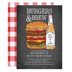 Burgers & Brew Barbecue Birthday Invitations