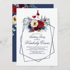 Burgundy and Navy Blue Wine Tasting Fall Birthday Invitation