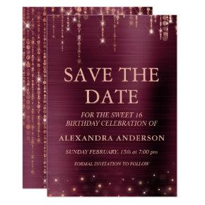 Burgundy and Rose Gold Sweet 16 Save the Date Invitation