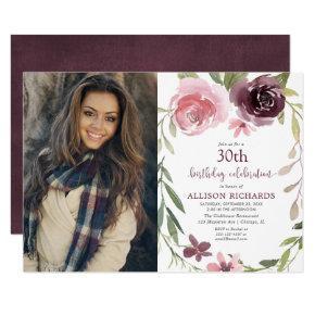 Burgundy blush floral any age adult birthday photo invitation