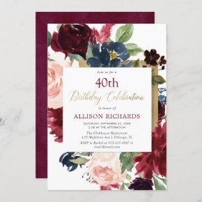 Burgundy blush pink gold floral birthday party invitation