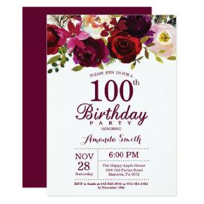 Burgundy Floral 100th Birthday Party Invitations