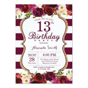 Burgundy Floral 13th Birthday Party Invitations