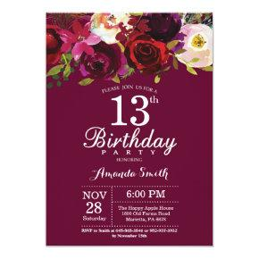 Watercolor 13th birthday invitations candied clouds burgundy floral 13th birthday party invitations filmwisefo