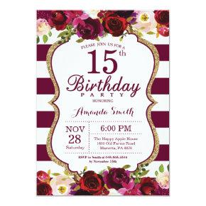 Burgundy Floral 15th Birthday Party Invitation