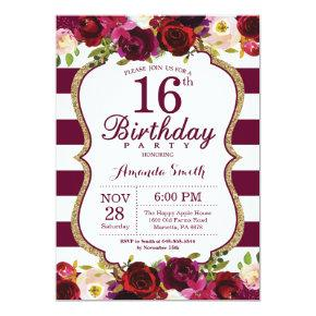 Burgundy Floral 16th Birthday Party Invitation