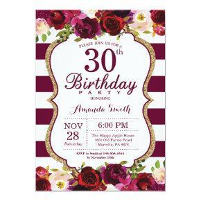 Burgundy Floral 30th Birthday Party Invitation