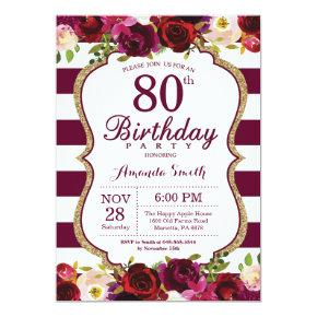 Burgundy Floral 80th Birthday Party Invitations