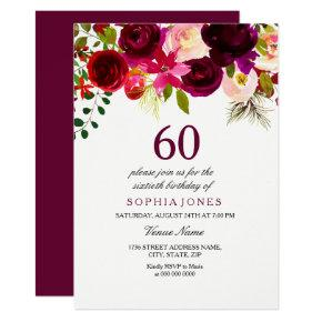 Burgundy Floral Boho 60th Birthday Party Invite